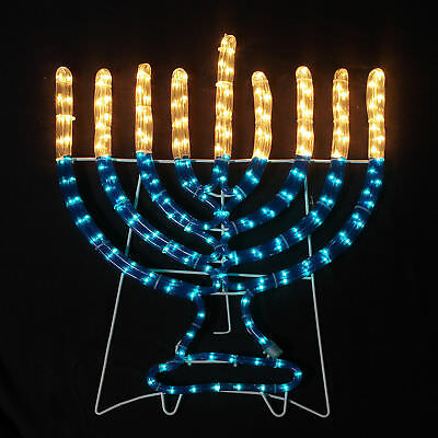 """Indoor and Outdoor Rope Light Menorah with Stand 36.5"""" H x 28"""" W"""