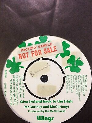 "PAUL McCARTNEY 1972 FACTORY SAMPLE DEMO:""GIVE IRELAND BACK TO THE IRISH""."