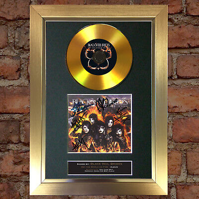 GOLD DISC BLACK VEIL BRIDES World on Fire Signed Autograph Mounted Repro A4 #103
