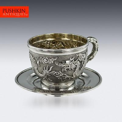 ANTIQUE 19thC CHINESE EXPORT SOLID SILVER CASED CUP & SAUCER, TUCK CHANG c.1890