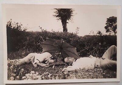 c1930 B/W Photograph. Two Men Asleep Under Umbrella. Male Intimacy. Gay Interest