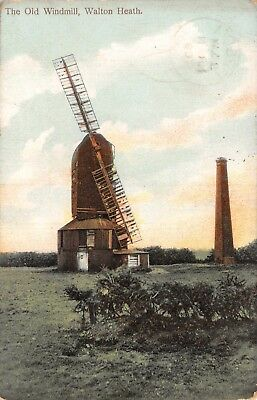 Surrey Walton Heath The Old Windmill With 2 Sails & Tower Rural Printed Card