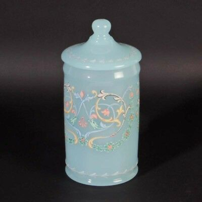 Cenedese Murano opaline glass lidded can box light blue painted vintage 1950ies