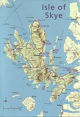 Map Of Isle Of Sky, Inner Hebrides, Scotland.