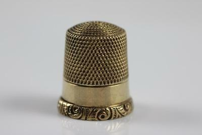 Beautiful Antique 10K Solid Yellow Gold Scrolled Rim Size 8 Thimble