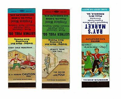 3 Old USA Superior Match 1900s with Strikers Bookmatch Covers Road Safety