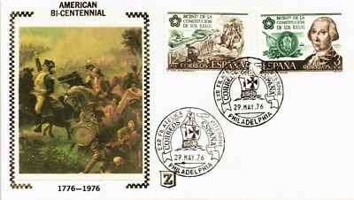 Dr Jim Stamps American Bicentennial First Day Issue Silk Cachet Spain Cover 1976