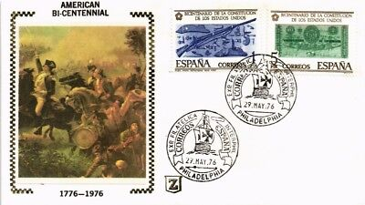 Dr Jim Stamps Bicentennial America First Day Issue Silk Cachet Spain Combo Cover