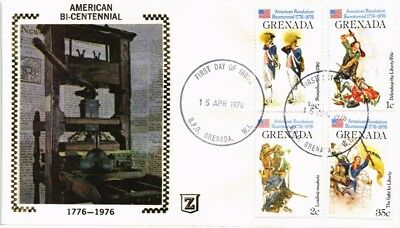 Dr Jim Stamps American Bicentennial Fdc Combination Silk Cachet Grenada Cover
