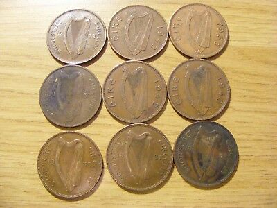 A Collection of 9 circulated Ireland One Penny Coins  1928 - 1968