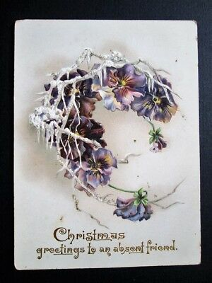 Christmas Greetings To An Absent Friend, Embossed - Pretty Victorian Card