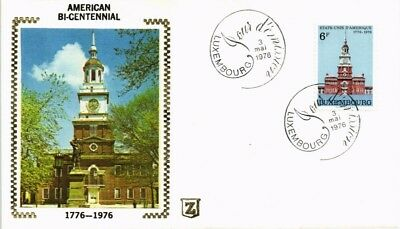 Dr Jim Stamps American Bicentennial First Day Issue Silk Cachet Luxembourg Cover