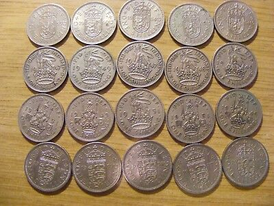 A Collection of 20 One Shilling Coins - dates  1947 - 1965