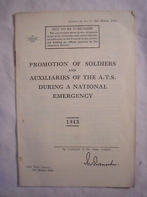 British Army Soldiers ATS Emergency Promotions Manual History 1943 WRAC Women