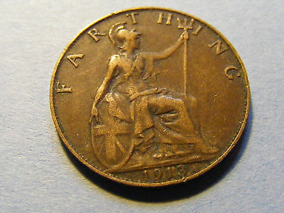 1913 George V Farthing Coin  - Nice Condition