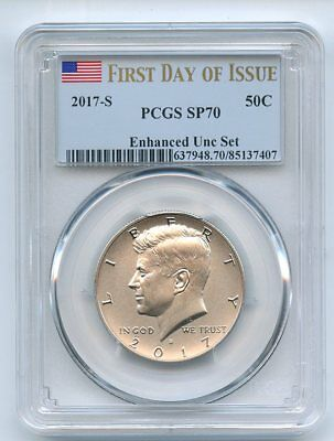 2017 S 50C Kennedy Half Dollar Enhanced PCGS SP70 First Day of Issue