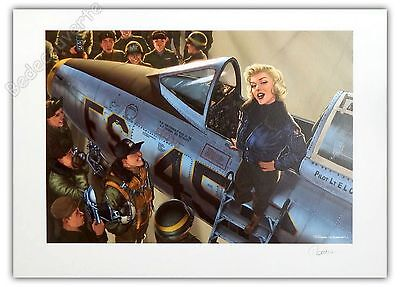 Affiche Romain Hugault Pin-up Avion F-100 Sabre Marilyn Monroe Signée 50x70 cm
