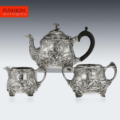 ANTIQUE 20thC SOLID SILVER TENIERS STYLE HUNTING BACHELOR TEA SET, LONDON c.1920