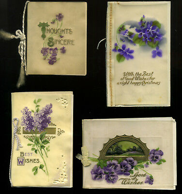 Vintage CELLULOID Christmas cards x4  PURPLE FLOWERS  Small Size