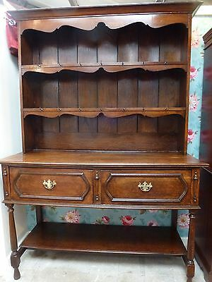 Antique Oak Welsh Dresser - Square Top Farmhouse Kitchen Cottage - 2 Pieces