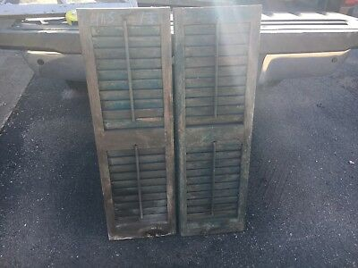 """PaiR 19th century louvered VICTORIAN house SHUTTERS Blue green paint 41.5"""" X 13"""""""