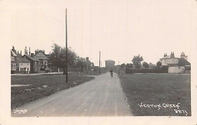 Surrey Esher Weston Green The Greyhound Pub & Man On Bicycle Photo Card