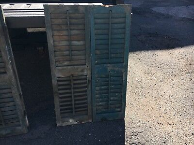 PaiR 19th century louvered VICTORIAN house SHUTTERS Blue green paint 41.5 X 13 B