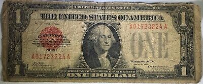 1928 One Dollar Legal Tender United States Note. Red Seal