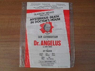 IAIN CUTHBERTSON - Autographed Dr. ANGELUS tour flyer signed by Iain great actor