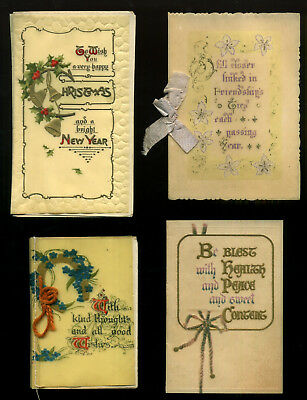 Vintage CELLULOID Christmas cards x4 VERSE Smaller Size WOOLSTONE Faulkner