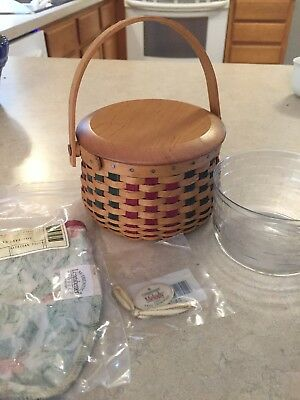 Longaberger Basket Liner Lid Tie On Christmas Collection 2003 American Holly