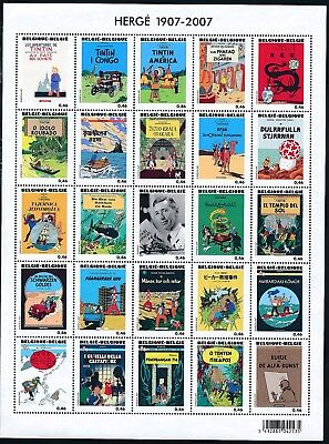 [Farde 598] Belgium 2007 : Tintin - Good Very Fine MNH Sheet