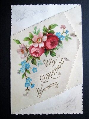 Christmas Blessing, Diagonal Fold-Out, Roses - Pretty Little Victorian Card