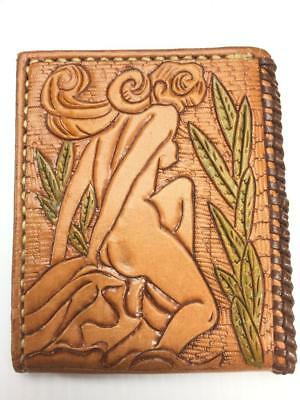 Vintage nude woman tooled leather wallet with jumping fish on other side NOS