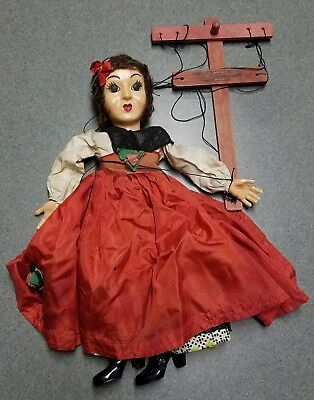 "VTG Hazelle 14"" Marionette Airplane Control String Puppet Woman In Red Dress NR"