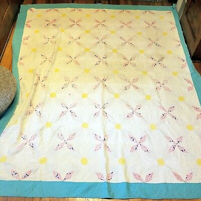 """Early 1900's Large Pinwheel Flower Cotton Quilt Handsewn Patchwork 80"""" x 88"""" NR"""
