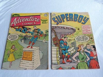 OLD 1954 DC COMIC BOOKS SUPERBOY #34 & ADVENTURE COMICS #202 reading issues