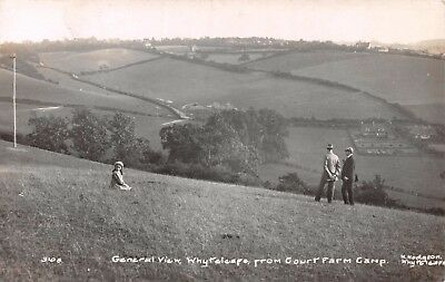 Surrey Whyteleafe View From Court Farm Camp 2 Men & Young Girl Photo Card