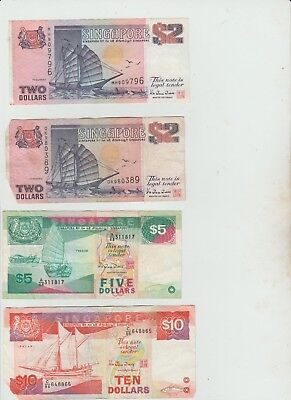 Selection Of Aisa,singapore ,dollars Banknotes . See Pictures