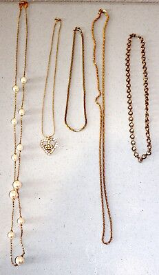 Lot of Vintage to New Gold Tone Necklaces & Pendants--Estate Jewelry--Super Nice