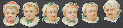 S8301 Victorian Die Cut Scraps: 6 Babies with Different Expressions