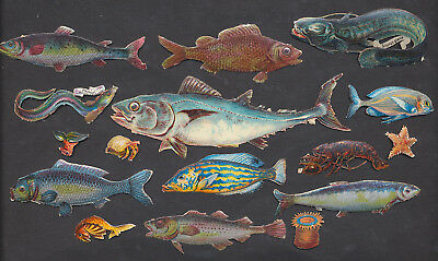 S8316 Victorian Die Cut Scraps: 16 Fish/Sea Creatures