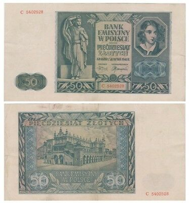 5o Zlots Polish banknote issued in 1941 C vf
