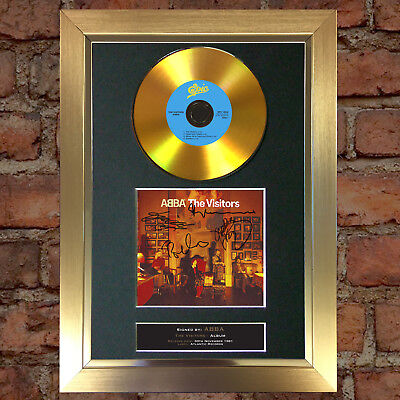 GOLD DISC ABBA The Visitors Album Signed Autograph Mounted Repro A4 #129
