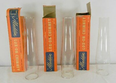 3 Used Aladdin Lox-On Glass Chimneys In Original Boxes For B Or 12 Model Lamps