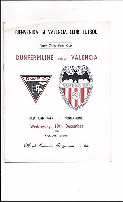 DUNFERMLINE v VALENCIA 1962 INTER-CITIES FAIRS CUP EXCELLENT CONDITION