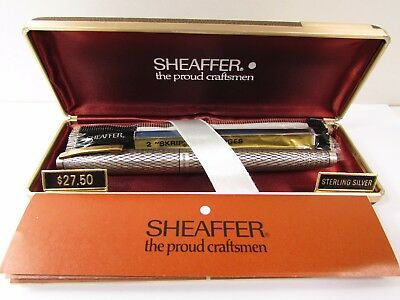 New Vintage Sheaffer Sterling Silver Fountain Pen Unused In Org Case,tag,manual