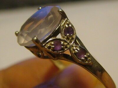 Silver Amethyst And Pink Stone Ring