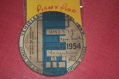 tax disc/collectable/ road tax/road fund ~1954 Farmers  Agri - tractor Ferguson