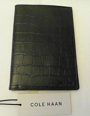 COLE HAAN Navy Leather Passport Case CHROM21032 NWT Slim Croco-Design